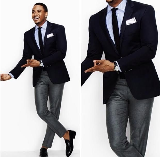 Gray slacks navy blazer great suit combo tie shirt for Navy suit and shirt combinations