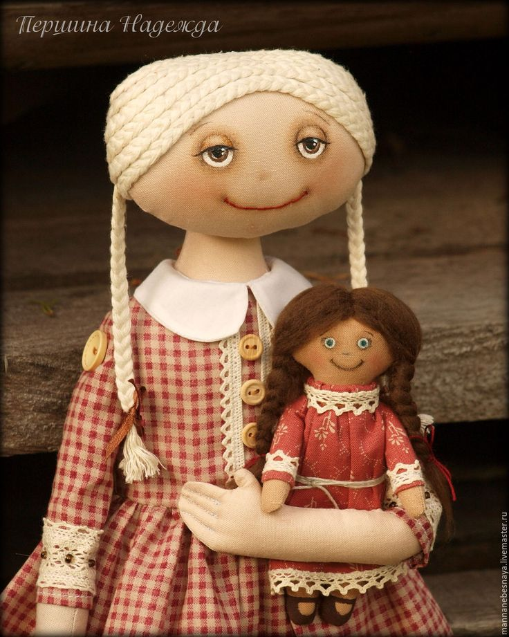 Купить Девочка с куклой. Винтажный стиль. - кремовый, винтажный стиль, интерьерная кукла, текстильная кукла