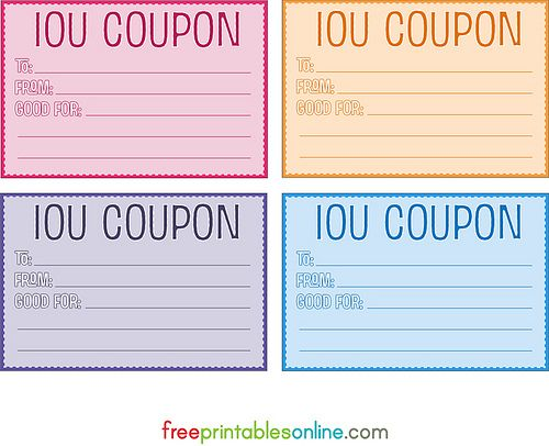 IOU coupons. Boy I could rake it in if I used these in my house LOL