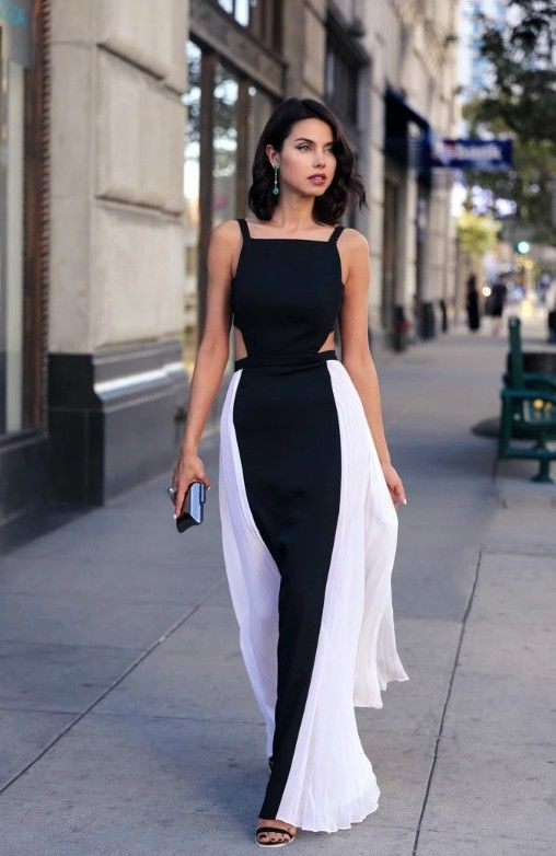 Sexy Black and White Long Dress