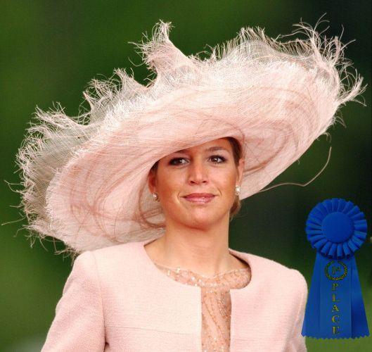 Fabienne Delvigne designed shredded brim straw picture hat - worn here by Queen Maxima of Netherlands