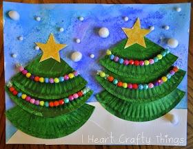 Christmas Tree Art using paper plates and pom poms.