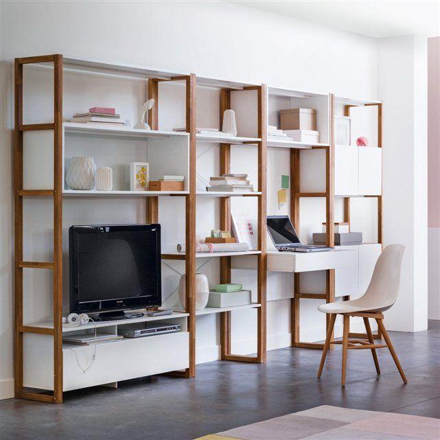 Tag re bureau compo etagere chene bibelot et modulable for Bureau quilda