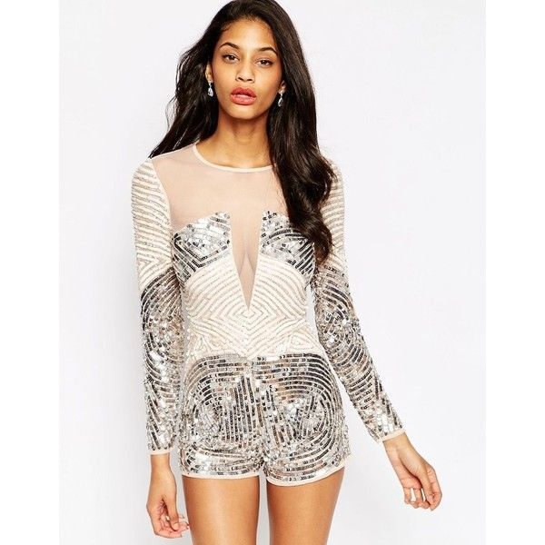 ASOS Heavily Embellished Occasion Playsuit (€80) ❤ liked on Polyvore featuring jumpsuits, rompers, multi, sequin romper, asos romper, sequin rompers, white romper and playsuit romper