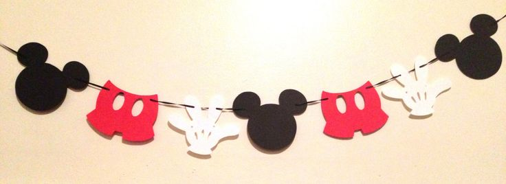 Mickey Mouse Garland - Banner - Mickey Mouse Birthday - Mickey Mouse Party Decorations - Mickey Mouse Baby Shower - Mickey Mouse Party by ParteeThings on Etsy https://www.etsy.com/listing/255341397/mickey-mouse-garland-banner-mickey-mouse