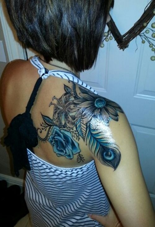Blue Rose and Peacock Feather Tattoos for Girls #coupon code nicesup123 gets 25% off at  Provestra.com Skinception.com