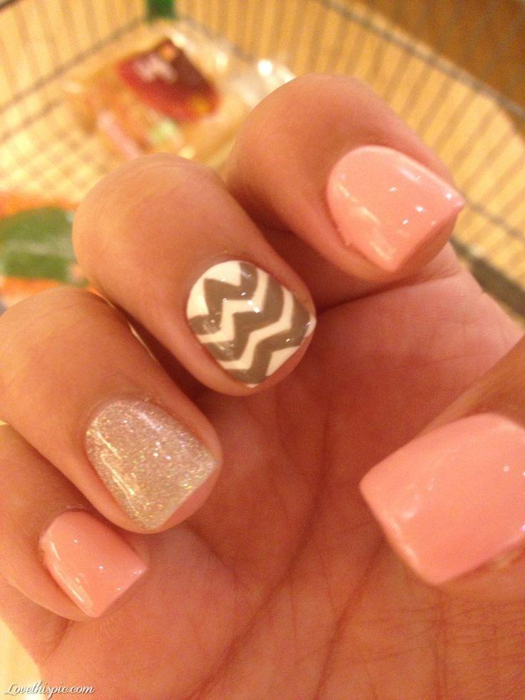 Sparkly Summer Nails  nails pink pretty nail art summer nails chevron so cute