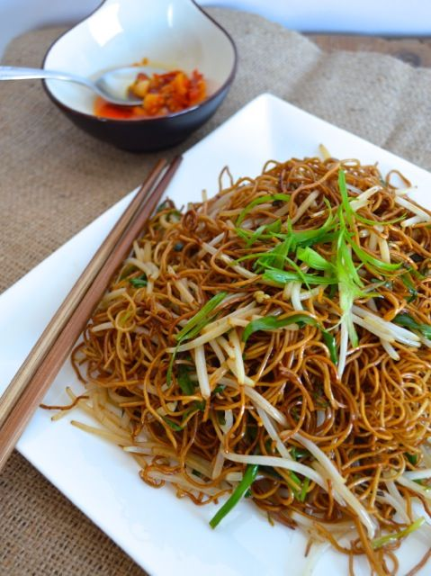 CANTONESE SOY SAUCE PAN-FRIED NOODLES - Try this with spaghetti squash noodles and coconut aminos