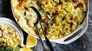 Seafood pie with potato crust.