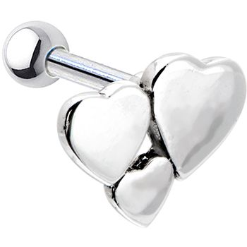Silver 925 Heart Cluster Cartilage Earring #heart #valentine #cartilage #piercing #tragus #helix $10.99