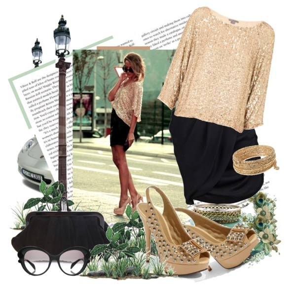 Gold!Shoes, Night Polyvore Com, Skirts, Clothing, Night Polyvorecom, Outfit, Dresses, Fashionista Style, Sequins Tops