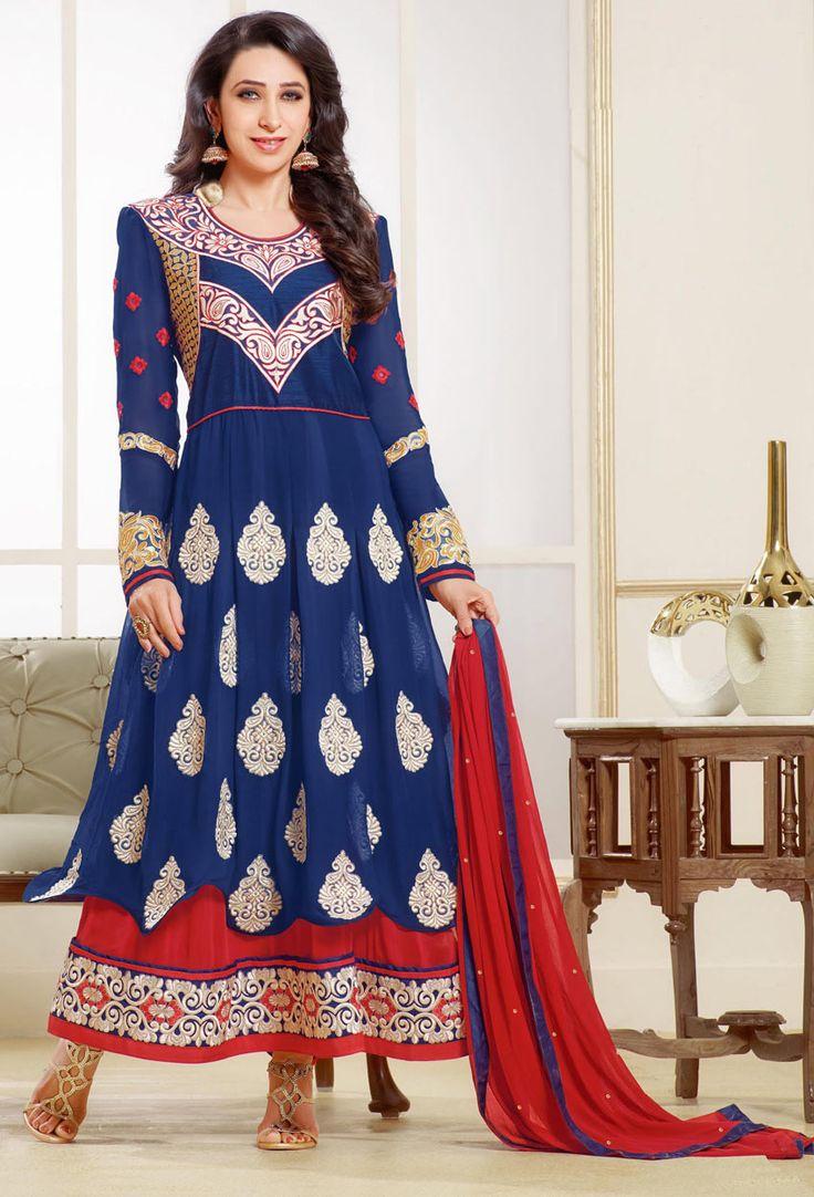Semi Stitched Teal,#Blue Georgette Long #Anarkali #Salwar #Suit #nikvik  #usa #designer #australia #canada #freeshipping