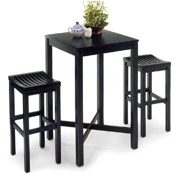 Black 3 Piece Pub Table Set