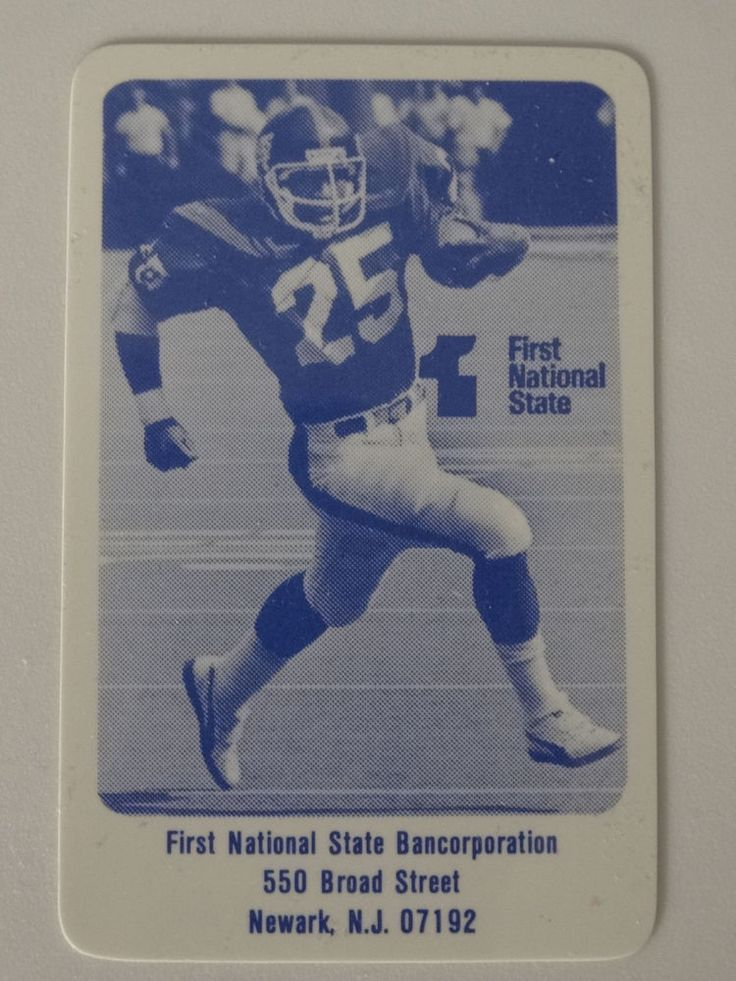 1983 First National State Bancorp Football New York Giants Schedule Plastic Card #Pocket #NewYorkGiants