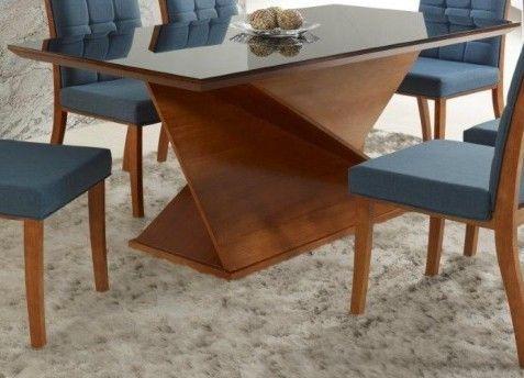 Mesa de Jantar Retangular Elegance 200x100cm Com Vidro Preto 5mm Colado no Tampo Ref 5052