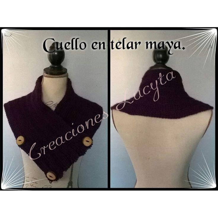 Cuello en lana color obispo tejido en telar mayo o telar rectangular.