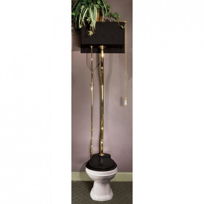Black Oak High Tank Pull Chain Water Closet with Victorian Bowl - Pull Chain Toilets - Toilets and Bidets - Bathroom