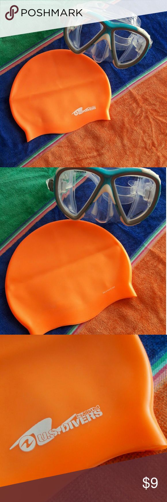 "US Divers Junior Silicone Swim Cap B017 This junior, one-size swim cap is constructed with silicone for maximum durability.  For ages 6 and up.  Mildly used.  Good condition.  Measurements:  Waist 8"" ~ Length 7"" ~ Size:  One size fits all ~ Color:  Glow orange. US Divers Swim"