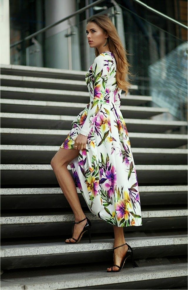 Maffashion Wearing Floral Dress From Bizuu, Shoes From Kazar And Bag Orsay