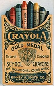 Crayola Crayons:  Binney & Smith introduced the first Crayola crayons in 1903.  The original boxes had the following eight colors:  Black, Brown, Orange, Violet, Blue, Green, Red, and Yellow