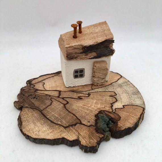 Little White Wooden House Driftwood Art Miniature Seaside