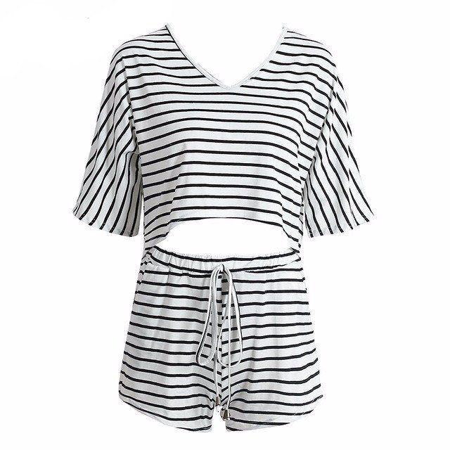 Black & White Striped Two-Piece Romper