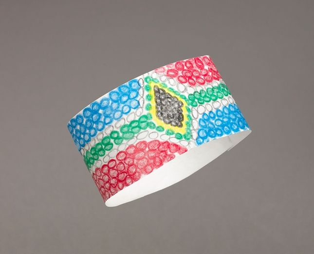 This style of elaborate, colorful beadwork originated with Zulu women in South Africa. These paper look-alike accessories are easy to make with Crayola Twistables® Crayons.