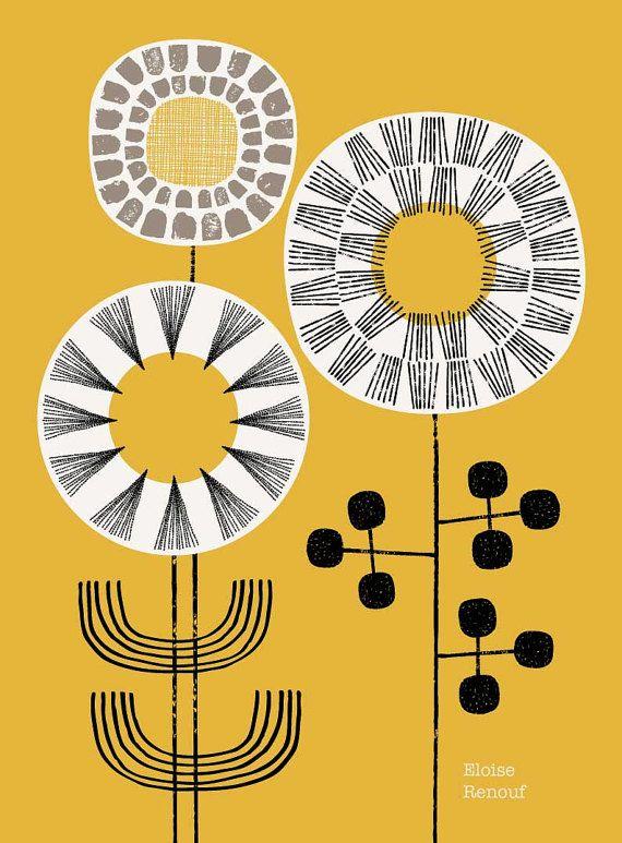 Sunshine stengels is ontworpen om een grote plons van kleur aan uw muren. Het is een follow-up afdrukken naar mijn populaire Poster bloemen No1 design, met een bijgewerkte compositie en nieuwe tekeningen. https://www.etsy.com/uk/listing/86200254/poster-flowers-no1-limited-edition?ref=shop_home_active_3 In dit stuk gebruikte kleuren zijn zwart, gebroken wit en warm grijs op een mooie mosterd achtergrond. Al mijn fotos beginnen leven als iets hand gemaakt, o...