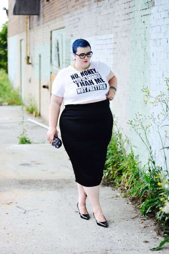16e6ca972c3 Black pencil skirt, with tucked in t-shirt and short blue hair. Body  positive plus size fashion. No Honey | Flight of the Fat Girl