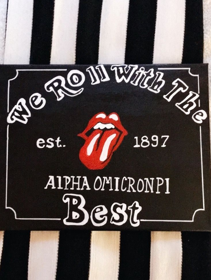 Alpha Omicron Pi canvas Rolling Stones rock n roll sorority canvas