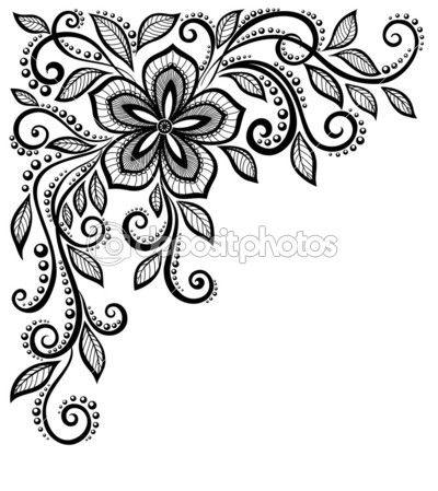 flor de encaje blanco y negro hermoso en la esquina. con espacio para su texto y saludos — Ilustración de stock #26543391