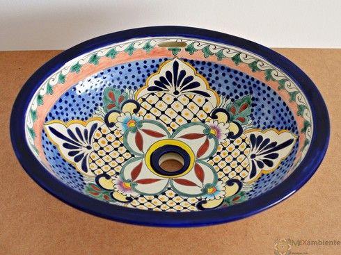 Mexiko Waschbecken aus Keramik - handbemalt, bei Mexambiente in Deutschland bestellbar