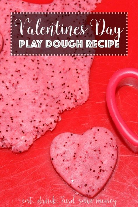Valentines Day Play Dough Recipe. Looking for a craft to do with kids for Valentines day? Maybe your making play dough as a Valentine. You'll love this kid friendly and edible play dough recipe. www.eatdrinkandsa...