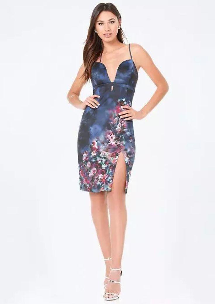 Amanda Print Deep V Scuba Midi Dress