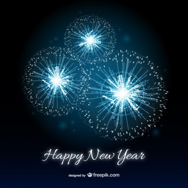 teal fireworks | Happy New Year card with fireworks Free Vector ...