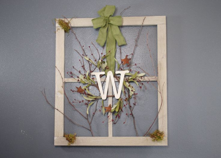 Monogram Wreath on Barn Window / Window Frame /  Personalized Monogramming with Initials / Initial Wreath Window. $35.00, via Etsy.