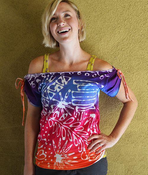 Glue-resist tie-dyed altered t-shirt #tutorial :) Love it! @Kathy Cano-Murillo & @ILoveto Create #summerofjoann