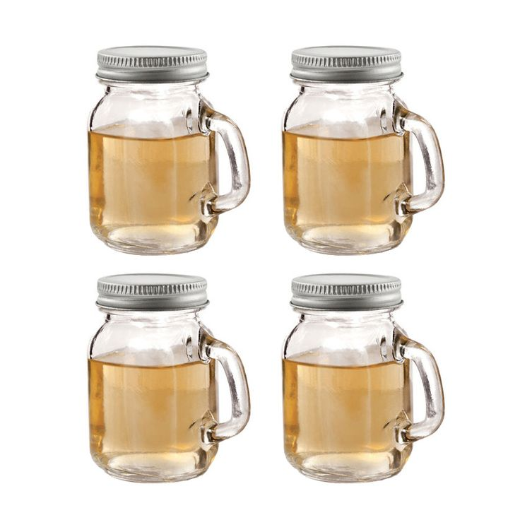 Delightful in mini. We love all things mini, and we're head over heels for these miniature mason jar shot glasses. Each mini jar has a convenient handle, a food-safe lid, and the capacity to hold almos...  Find the Mini Mason Jar Shot Glasses - Set of 4, as seen in the Lemony Fresh Farmhouse Collection at http://dotandbo.com/collections/lemony-fresh-farmhouse?utm_source=pinterest&utm_medium=organic&db_sku=TFS0061