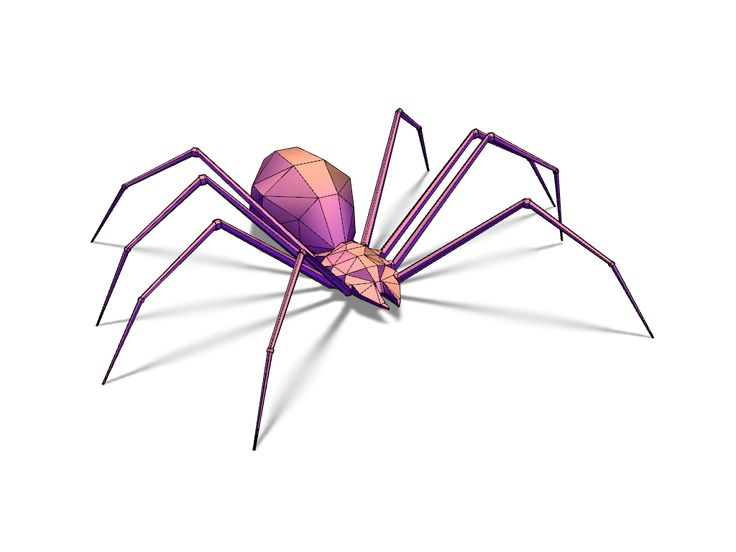 Lowpoly spider - a 3D model created with VECTARY - the free online 3D modeling tool #3Dprinting