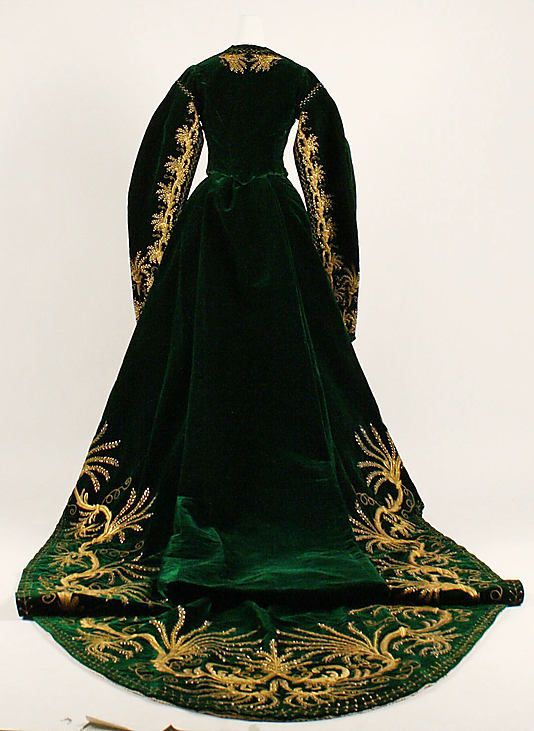 Green Velvet Court Dress, Russian, c. 1900. (Back View Showing Train)