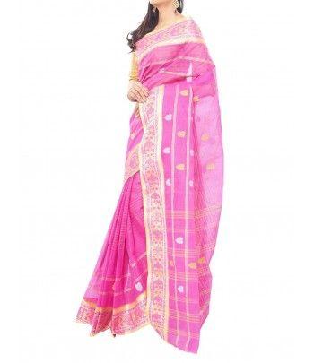 Pink Color Cotton Bengal handloom Saree