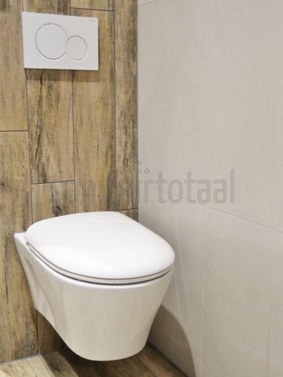 Houtlook toilet, keramisch parket, houtlook tegels