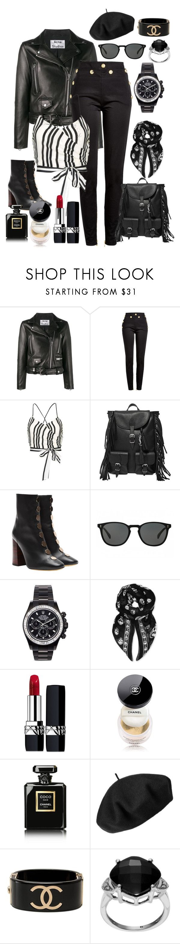 """Monochrome"" by risalba on Polyvore featuring Acne Studios, Balmain, Alice + Olivia, Yves Saint Laurent, E L L E R Y, Oliver Peoples, Mad Collections, Alexander McQueen, Christian Dior and Chanel"