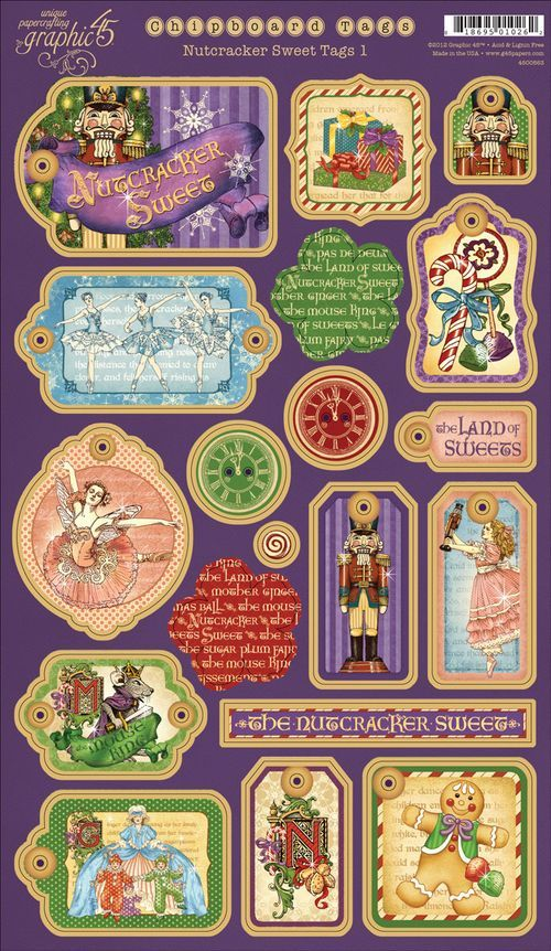 From our new collection, Nutcracker Sweets. These are our Chipboard Tags 1 set. In stores early September! #graphic45 #CHA