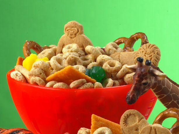 A snack mix is a good idea... the challenge is to find one that's fairly healthy with no nuts, but also kind of fun...