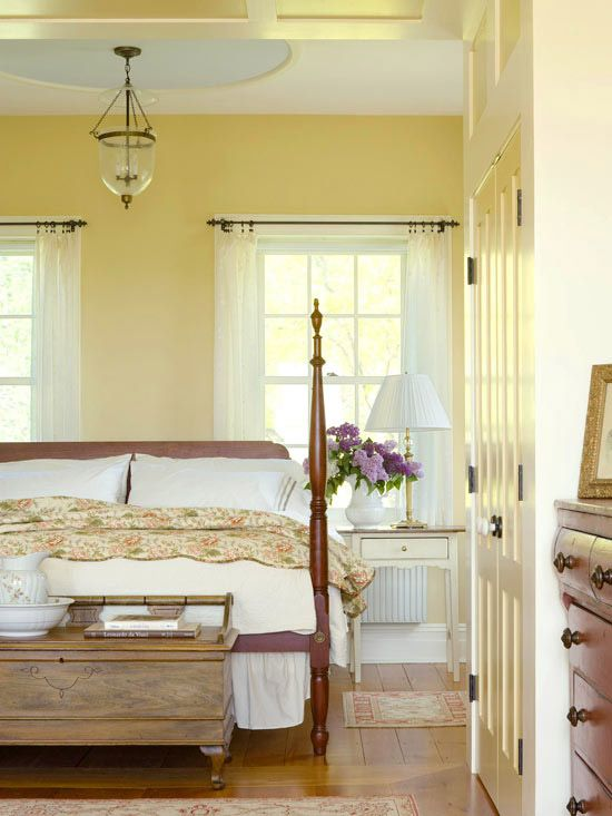 Winter Brights In a part of the country known for dark and dreary winters, using color to lighten spaces is a no-brainer. This Vermont farmhouse?s master bedroom gets its glow on with walls in buttery yellow and trim in off-white. The combination can brighten even the darkest winter day.