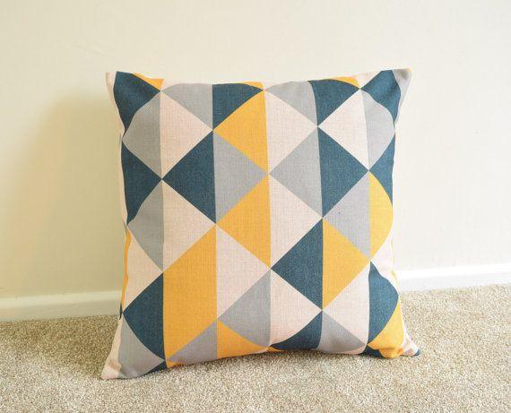 Mustard/Blue Black/Grey Geometric Scandinavian Cushion Cover