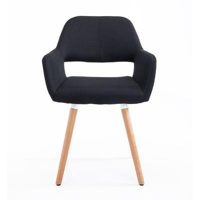 Chaise Capitonnée avec Accoudoir Design Original Pieds en Bois Massif 56L x 56l x 79Hcm Noir Neuf 53BK - Achat / Vente chaise Noir - Black Friday le 24/11 Cdiscount