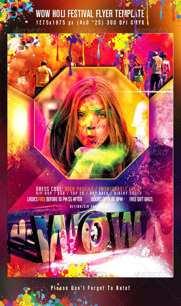 wow holi festival flyer template psd posters flyers