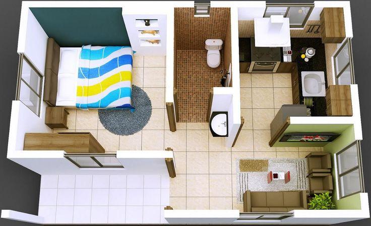 Plano de departamento de 1 dormitorio en 40 metros cuadrados